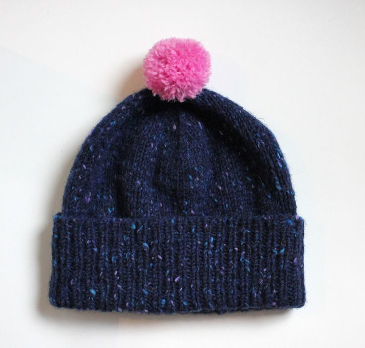 Girls merino pom pom beanie / Navy beanie / Winter accessory kids / Children's winter hat / Pink bobble hat / Dark blue hat - pinned by pin4etsy.com
