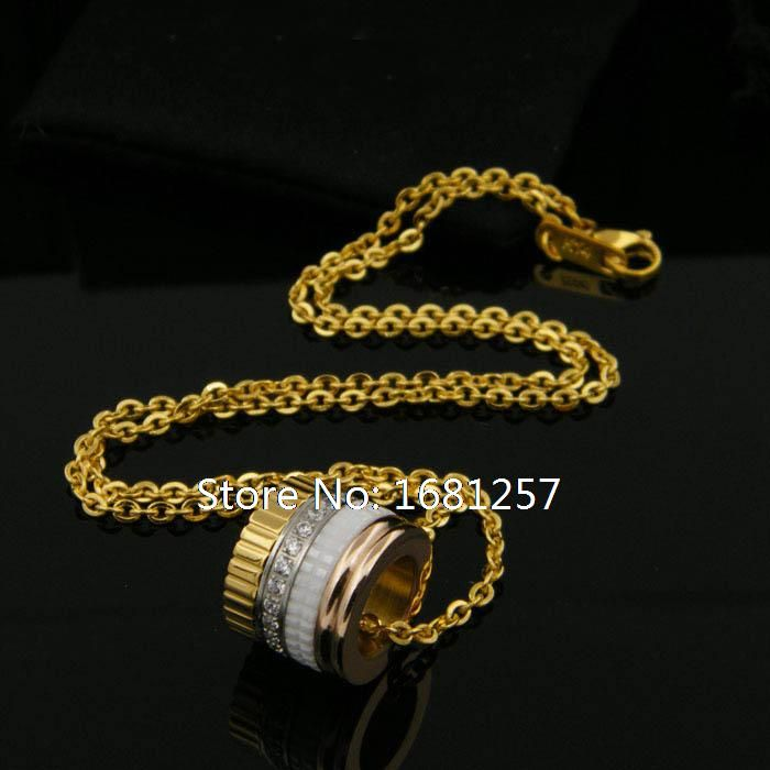 DASN168 Free Shipping  steel necklace stone white ceramic with pave stone yellow gold color charm pendant for women necklaces