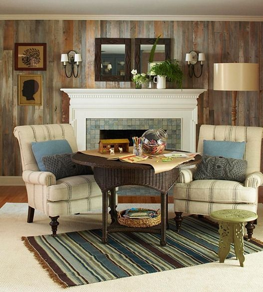 Love the idea of a larger table with chairs in front of the fireplace for the kids to play games, color, etc