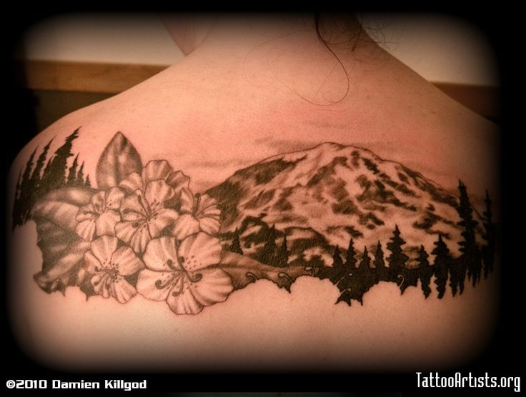 Washington. Leg Tattoo :) I drew something like this for a tattoo I kind of want (trees, mountain, clouds, and state flower.