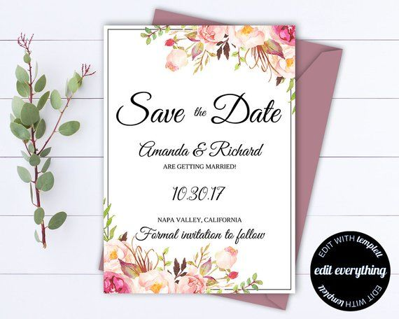 graphic relating to Printable Save the Dates known as Purple Floral Conserve the Day Marriage ceremony Template Crimson Floral Help save