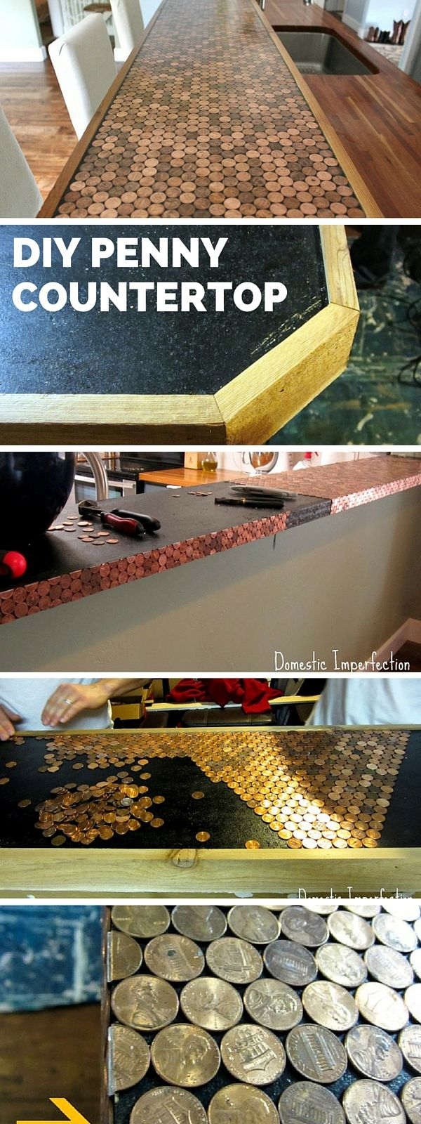 Check out the tutorial: DIY Penny Countertop #DIY #homedecor