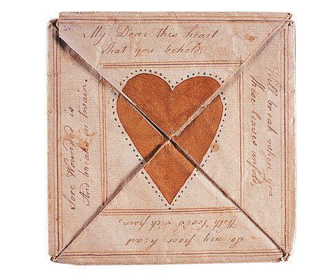 1790 valentine card; seemingly oldest that happens to be the world's most expensive valentine card ever - states: my dear, the heart which you behold will break when you the same unfold  even so my poor heart   with lovesick pain   sure wounded is   and breaks in twain  http://elitechoice.org/2007/11/24/worlds-oldest-valentine-card-is-worlds-most-expensive-one/Antiques Valentine, Envelopes, American Folk Art, Valentine Day, Paper Hearts, Valentine Cards, 18Th Century, Vintage Valentine, Love Letters