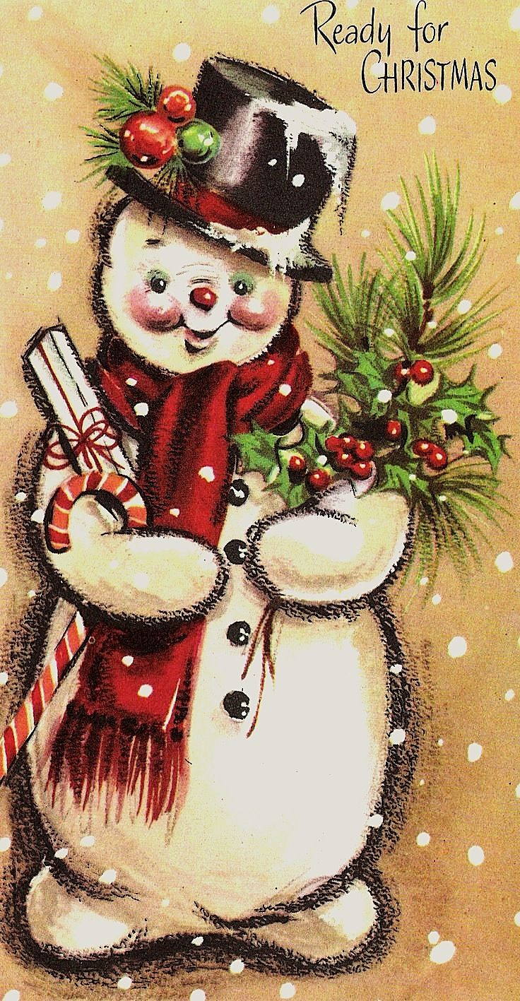 Snowman - Vintage card