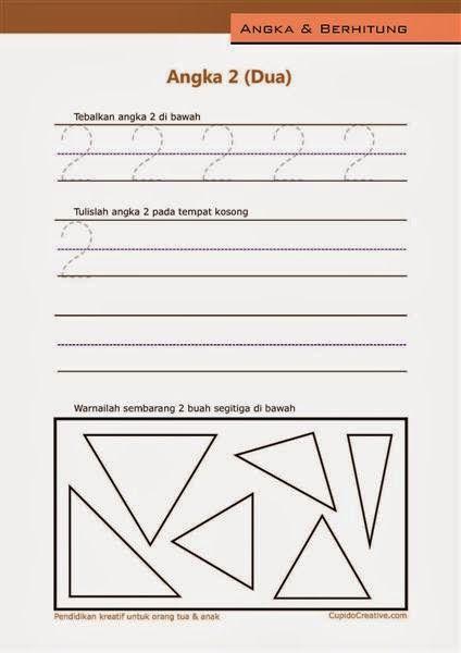 belajar angka paud (anak balita/TK), berhitung 1-10, angka 2