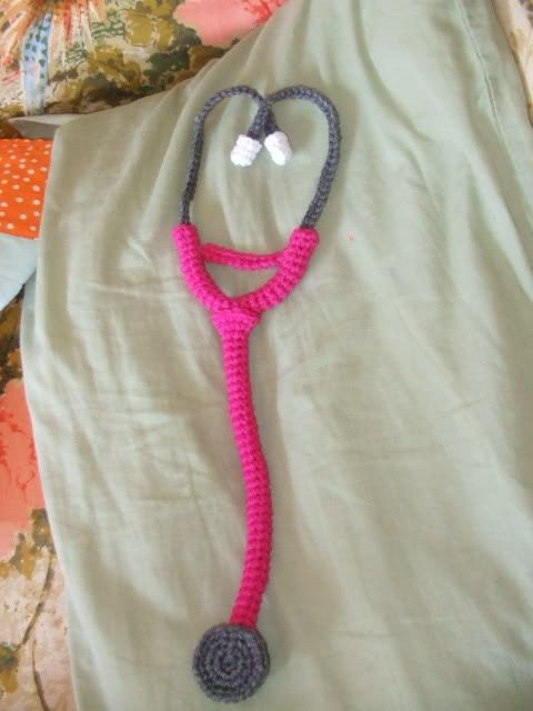Crochet this cute stethoscope for your future doctor. Make it in bright colors with a combination of Vanna's Choice and Modern Baby.