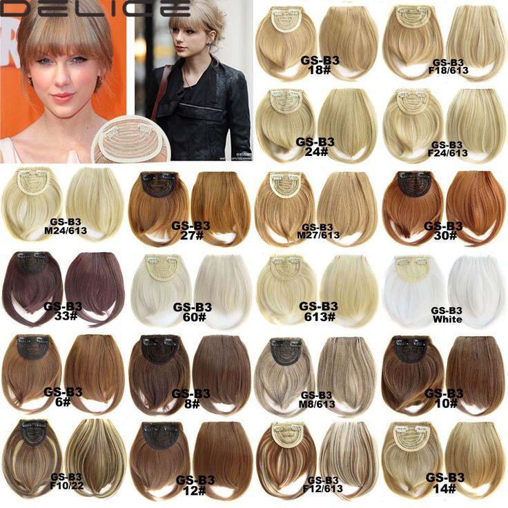 Kadın Düz Temiz Kaküller Fringe Sentetik Saç Uzantıları Klip Saç Parçası 32 Renk B3-2
