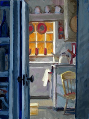 "Edward Hopper's Truro Studio Kitchen, oil on panel, 15 x 12"", 2012"
