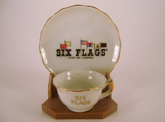 Six Flags Souvenir Mid America Mini Cup Saucer Stand Vacation Memorabilia Road Trip Collectible Cup And Sauc Souvenir Cups Cup And Saucer Six Flags