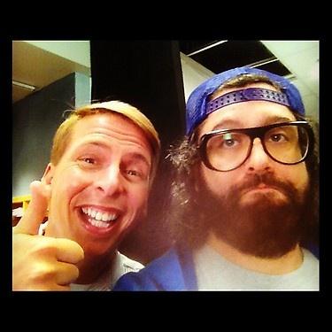 Me & Jack McBrayer on set 1 min ago. #30rock @nbc30rock - @JudahWorldChamp. Soooooo going to miss this program me!!! :'(