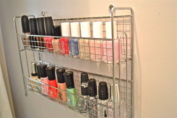 Spice Rack Nail Polish Organizer - 150 Dollar Store Organizing Ideas and Projects for the Entire Home