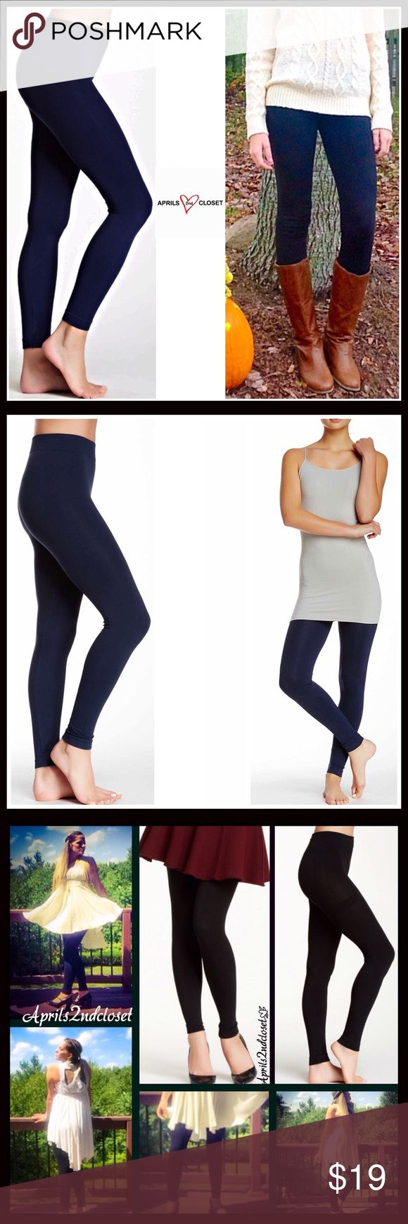 """⭐️⭐️ PLUSH LEGGINGS FOOTLESS TIGHTS PLUSH FLEECE LINED LEGGINGS / FOOTLESS TIGHTS  COLOR-NAVY BLUE (Black listed/sold separately)   SIZE- S/M, M/L, L/XL  ITEM DETAILS  * Super soft, plush & comfortable   * High quality & well made   * Designed for layering   * Stretch-to-fit   * **SIZING- Tagged L/XL, 5'6""""- 6'0"""", 165-225, sizes 12-16, M/L,5'6""""-6'0, 145 -195 LBS, sizes 8-12, S/M, 5'0-5'6"""", 95-140 LBS, sizes 0-8  * Machine wash cold   FABRIC 97% polyester, 3% spandex   ❌NO TRADES❌ ✅BUNDLE…"""
