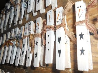 """Booth #555: Snowmen """"clothespin"""" Magnets"""