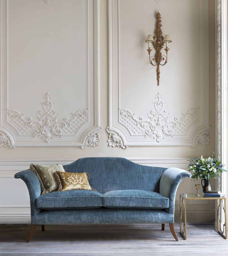 The Clarence sofa covered here in Como silk velvet, Teal (green/blue) has an air of timeless elegance about it and its iconic shape owes much to the classic lines of English Regency designer, Thomas Hope. bout it.