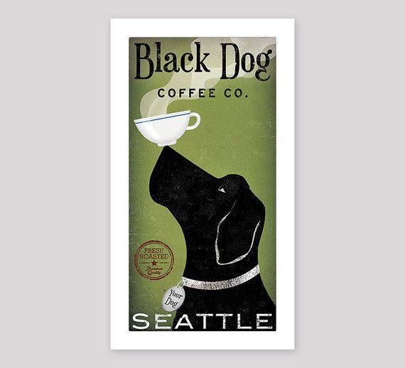 custom BLACK DOG LABRADOR Retriever Coffee Company graphic art print Signed by artist