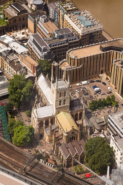 Southwark Cathedral and Borough Market from The Shard, London