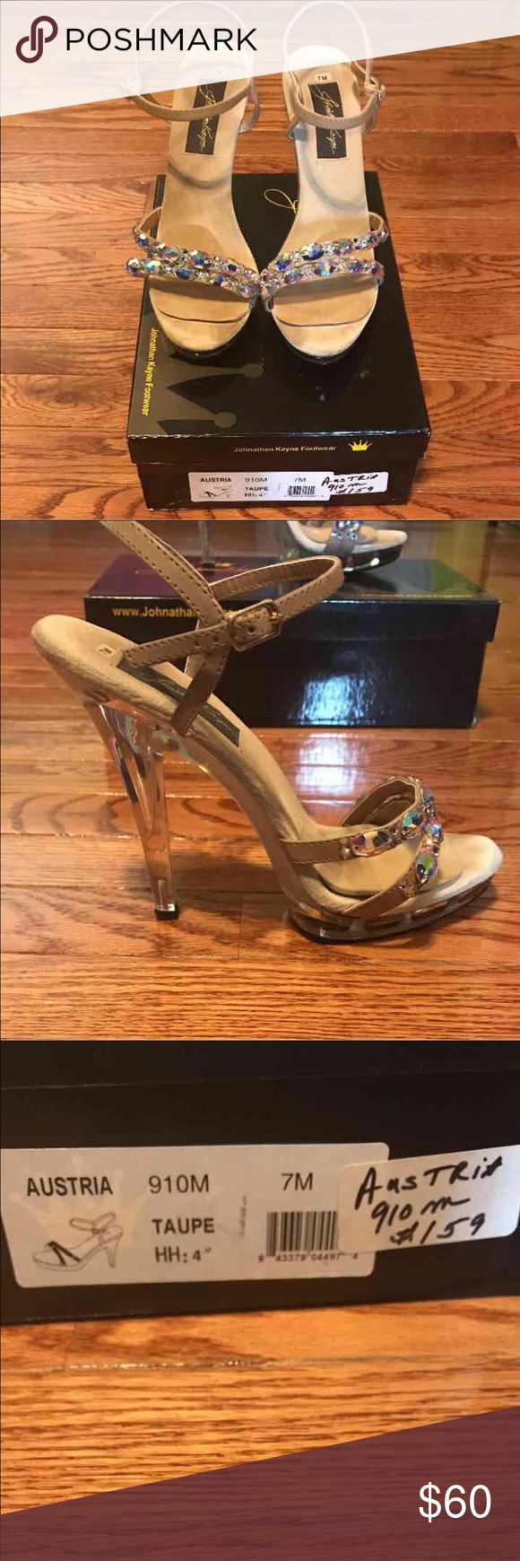 Johnathan Kayne Pageant shoes BEAUTIFUL JOHNATHAN KAYNE, pageant, bikini competition, or prom shoes. Size 7M, color Taupe at 4.5 inches high. Purchased these for $159.00 and wore them once to prom!! Johnathan Kayne Shoes Platforms