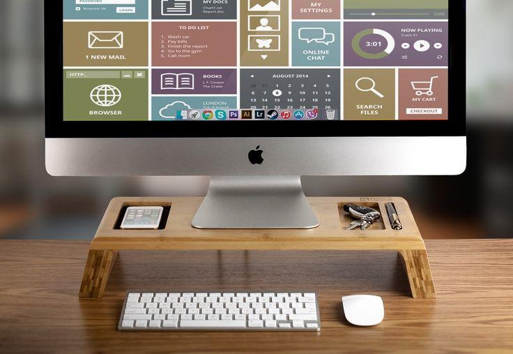 Bamboo imac monitor stand industrial escritorios y oficinas - Elevador monitor ikea ...