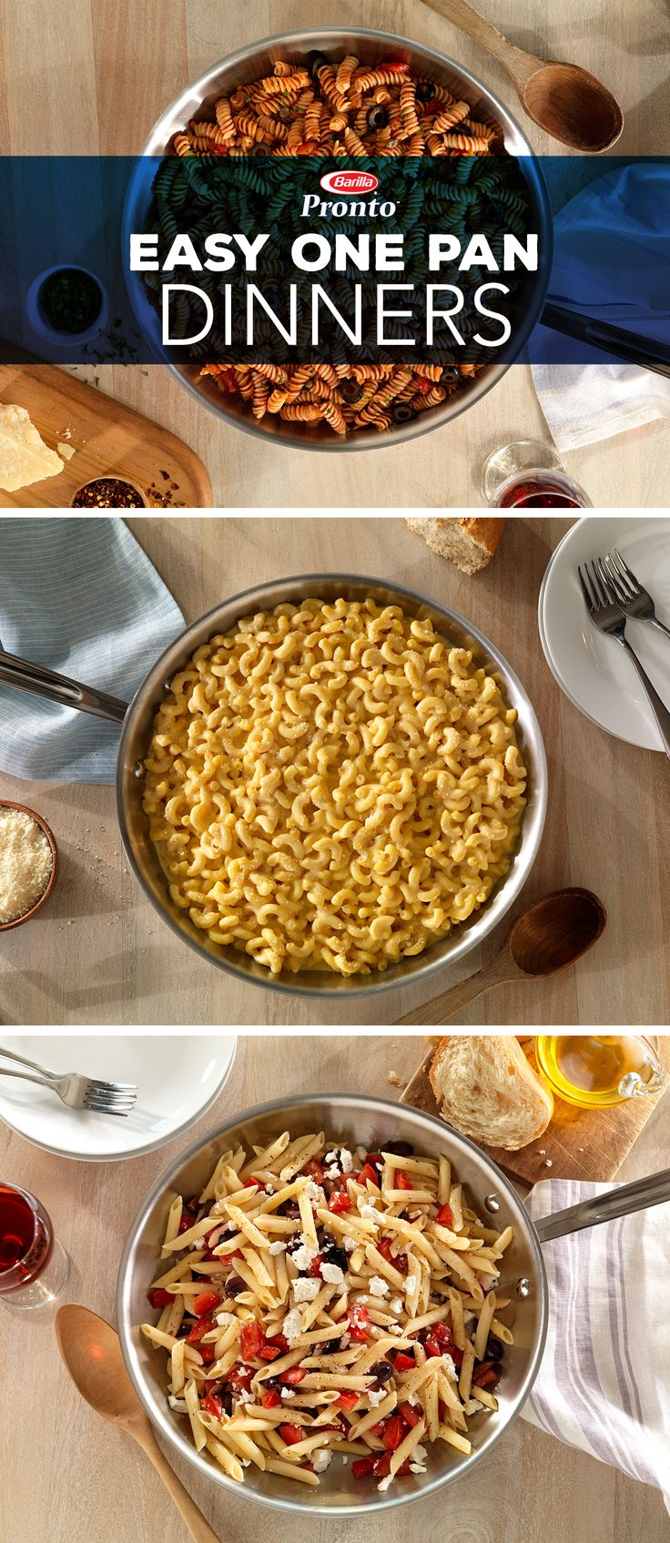 Easy all-in-one pan Pronto™ pasta dinners that don't require more work after your already long workday. Try any of these delicious and easy recipes, like Elbows Macaroni & Cheese or Greek Style Penne. Just cook, finish and serve a delicious meal in minutes. No waiting for water to boil or draining pasta required. Discover more one pan pasta recipes from Barilla today!