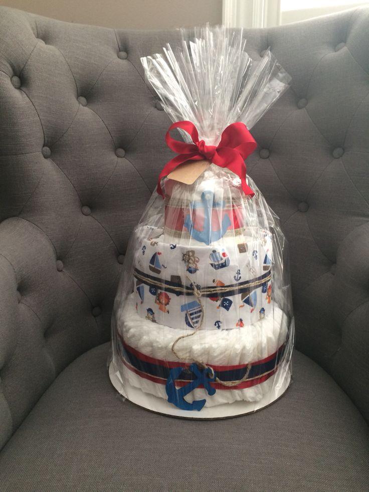 Nautical theme diaper cake