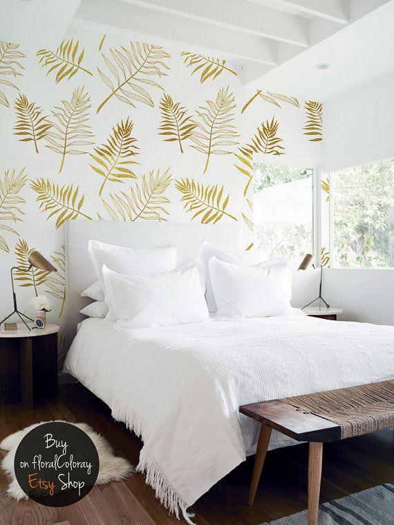 Elegant palm leaves wallpaper || White and golden || Botanical pattern || Reusable #74