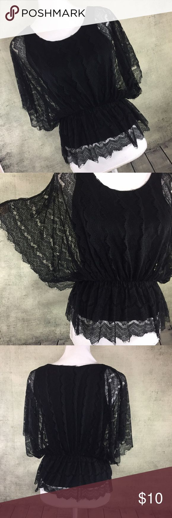 FINAL PRICE ‼️ Black Lace Sheer Batwing Peplum Top This top is perfect for date night. It is fully lace (overlayed a black tank) with batwing lace sleeves. There is an elastic waist that gives it a peplum look. 100% nylon. Measurements - In inches, taken flat and are approximate (double where appropriate): 21 length, 10 waist, 15 bust Old Navy Tops Blouses