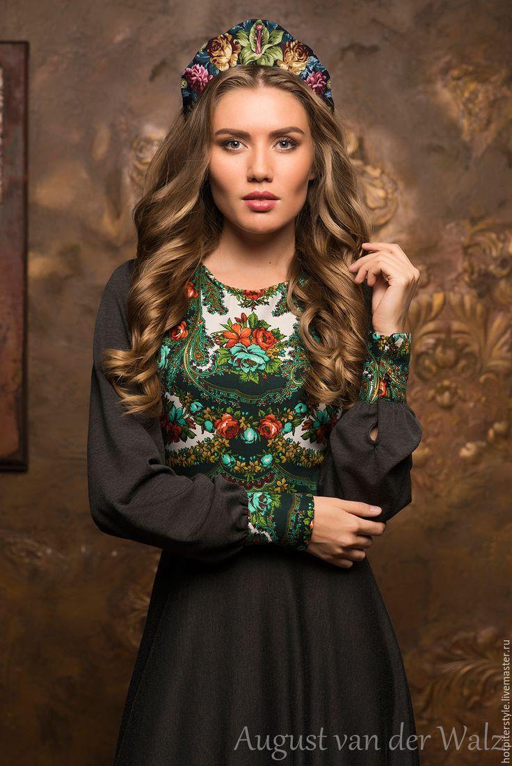 Купить Платье в Русском стиле - цветочный, платье из платка, макси платье, модное платье