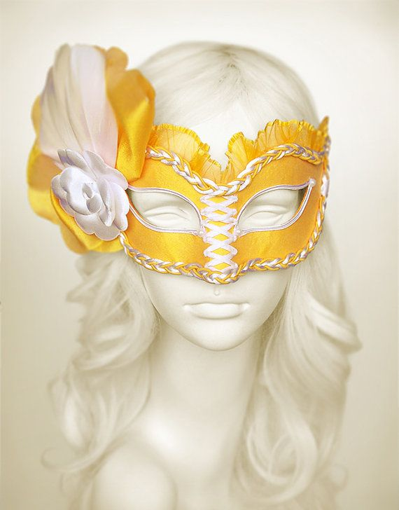 Bright Yellow And White Masquerade Mask    Venetian by SOFFITTA