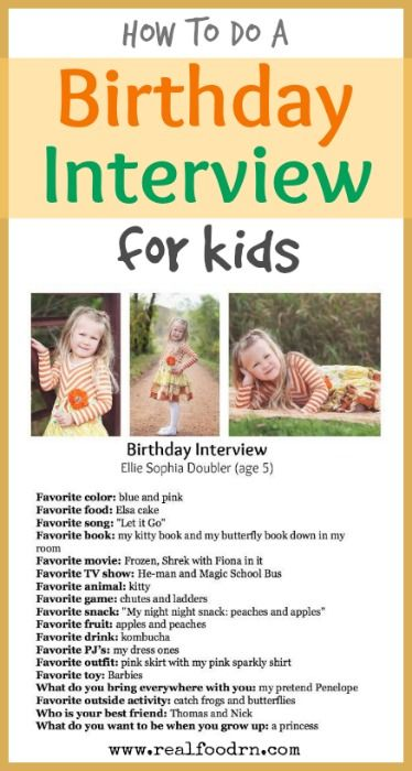 Birthday Party Ideas: the Birthday Interview. Every year I interview each of my kids with the same list of questions. I then laminate the sheet and put it in a book. Its so much fun to see how they change every year. The kids love it too. Here is how I do it.  realfoodrn.com #birthdayinterview #birthdayactivities