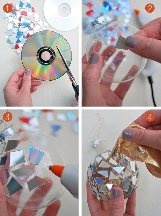 Cut up an old CD and glue to clear ornament. The lights of the tree reflect off the surfaces beautifully.