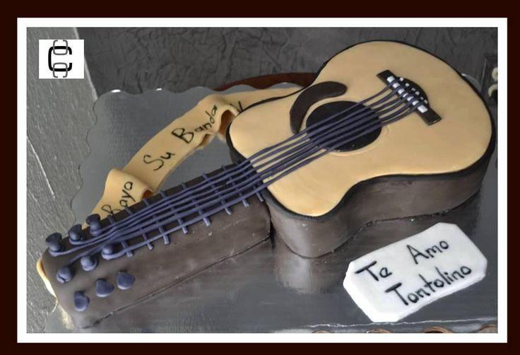 2D FONDANT GUITAR CAKE (Pastel en forma de guitarra) | Proyectos ...