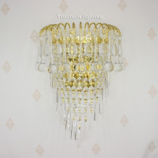 Classic Crystal Chandelier Wall Light Gold Crystalline Wall Sconce Lamp Led Foyer Living Room Bedside Glass Crystal Wall Lam Crystal Wall Sconce Lamp Wall Lamp