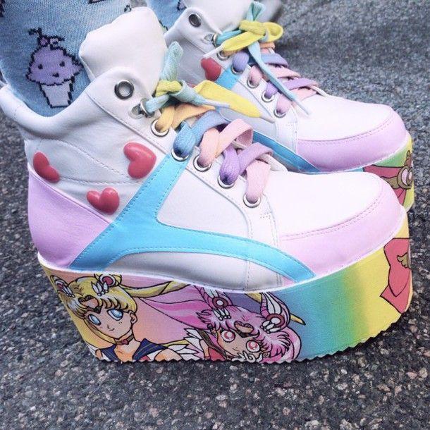 shoes pastel sailor moon anime kawaii kawaii grunge manga platform shoes platform sneakers japan japanese fashion pastel pink style