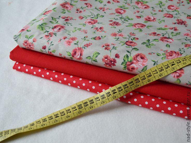 """Купить Ткань хлопоковая """"Мельфлер на сером"""" - ярко-красный, ткань для творчества, ткань для постельного"""