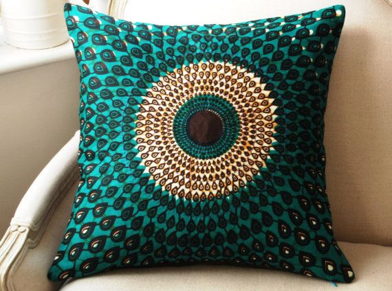 Teal Silk Peacock Pillow cushion cover - wax print batik/ emerald silk back - 20 x 20 inches (50cms)