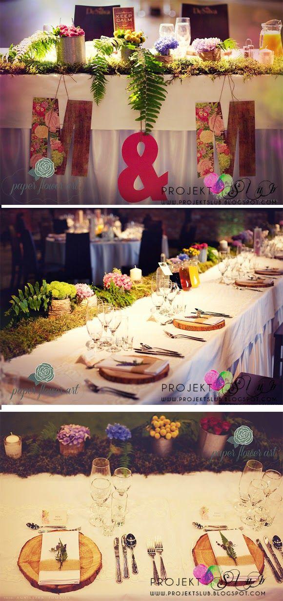 projekt ŚLUB - dodatki ślubne WEDDING FESTIVAL w stylu vintage z motywem kwiatowego wianka - fotorelacja z udekorowanej sali weselnej