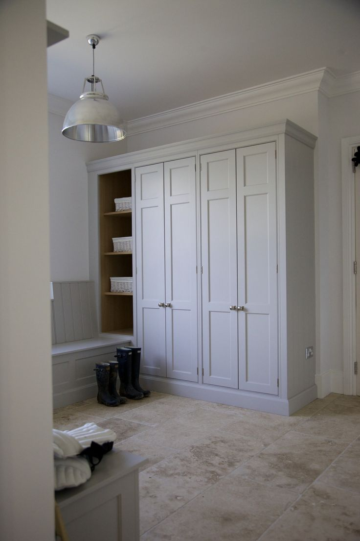 replace louver doors/Project: Ashurst House | Kitchen Design: Nickleby | The Nickleby design embodies the true spirit of the classic contemporary kitchen. | This is the boot room which leads into the kitchen. #humphreymunson