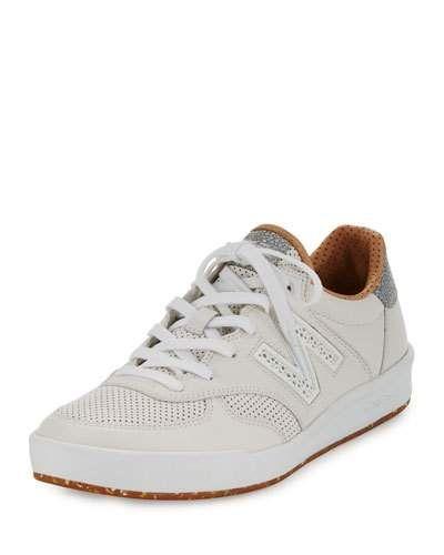 Men's CRT300v1 Leather Trainer Sneaker, White/Tan