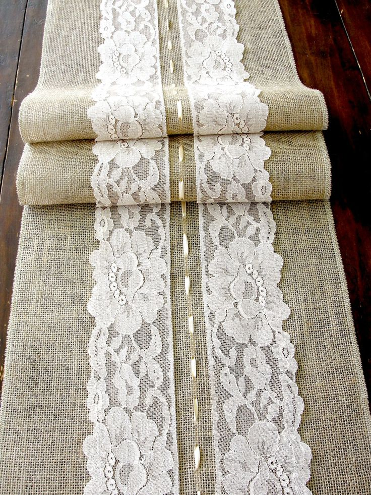 Burlap table runner with creamnude lace wedding by HotCocoaDesign, $23.00