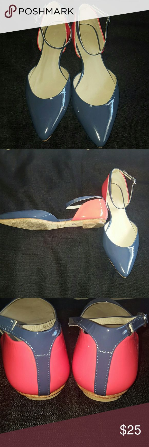 BODEN FLAT SHOES Beaches are in like new condition they've only been worn maybe once or twice inside is great no scuffs or scratches practically new great with a jeans or work and will be a fun pair for the summer. The. Olor2nd is more like a denim blue & lipstick orangeish red. Boden Shoes