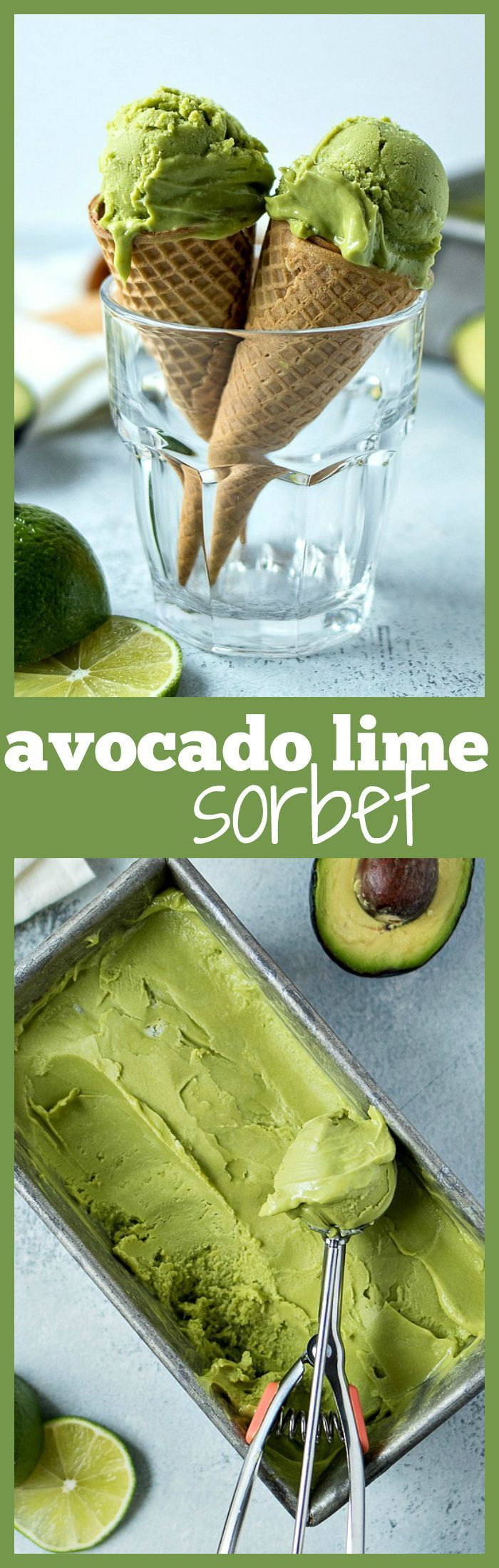 Avocado Lime Sorbet ~ Made with only three ingredients, this avocado lime sorbet is shockingly refreshing and unbelievably creamy. It's going to be your new favorite summer treat!