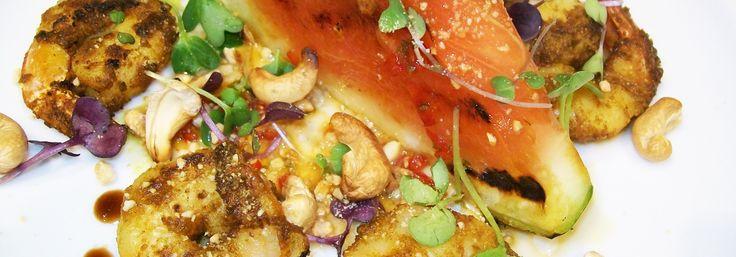 Malaysian Prawns, Seared Watermelon, Coriander, Chilli Lime Dressing and Cashew Crumble