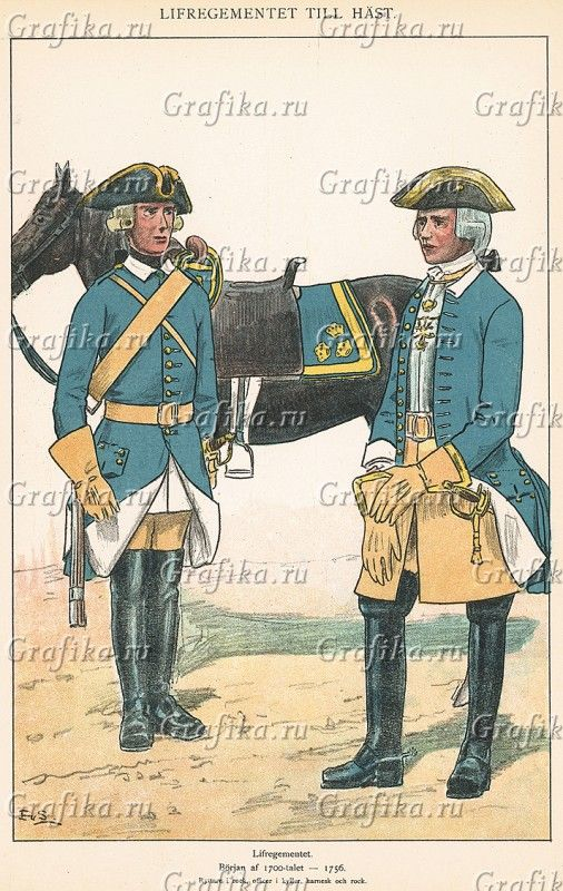 Officer and soldier at the Life regiment of horse 1700-1756 by Einar von Strokirch
