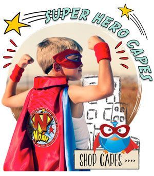 Is it a bird? Is it a plane? Nope, its way better than that. Its an awesome personalised SPATZ Mini Peeps® Personalised Kids Super Hero Cape! Made from the coolest of heavy duty fabrics for heavy duty crime fighting, with a press stud closure, these capes are sure to be a hit. They come complete and unique with a SUPER AWESOME design placed on the back.Add a matching Mask to complete the look!  Also included in these wonderful capes are a collar which may be placed upward for a more…