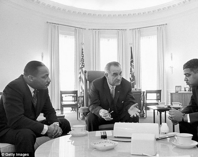 Dr. Martin Luther King Jr. meets with President Lyndon Johnson.