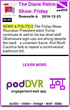 #NEWS #PODCAST  The Diane Rehm Show: Friday News Roundup    Domestic – 2016-12-23    READ:  https://podDVR.COM/?c=ae2cb00c-4541-6d37-3c71-366fe57d9064