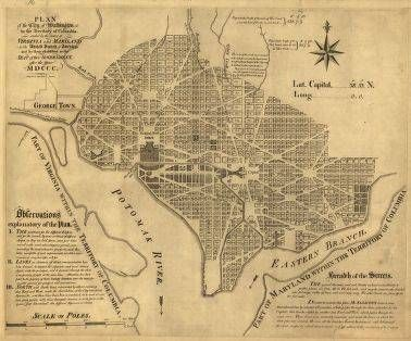 Survey Map of Washington- Benjamin Banneker's mechanical and mathematical abilities impressed many, including Thomas Jefferson who encountered Banneker after George Elliot had recommended him for the surveying team that laid out Washington D.C.