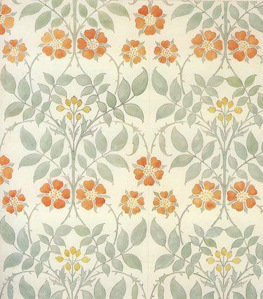 C.F.A. Voysey 1906 Wallpaper Design - Arts & Crafts Home