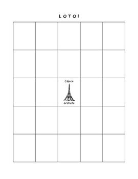 """A blank """"Loto"""" board, with """"Espace Gratuite,"""" for students to fill in with vocabulary chosen by the teacher. This is a versatile tool for review games, and a great thing to put in your """"Emergency Sub Plan"""" folder!"""