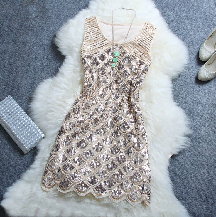 Want to be shinning in the party? This dress will help you. Highlight with handmade sequins on, this dress will make you shinning in the sun and light. Be super star with it. Color: Beige, Red, Black,